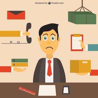 Empleado de oficina estresado