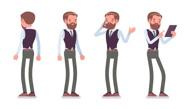 Empleado de oficina masculino guapo de pie