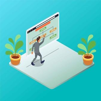 Un empleado de oficina está presentando una ilustración isométrica de gráfico