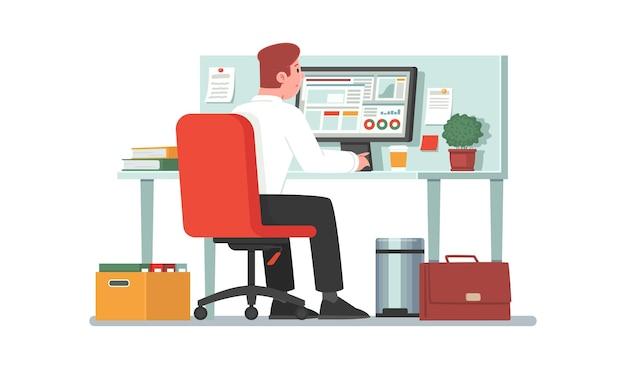 Empleado de oficina se sienta en un escritorio frente a un monitor de computadora empleado o contador