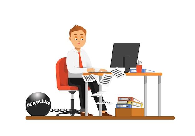 Un empleado que trabaja horas extra y casi agotado debido a los plazos.