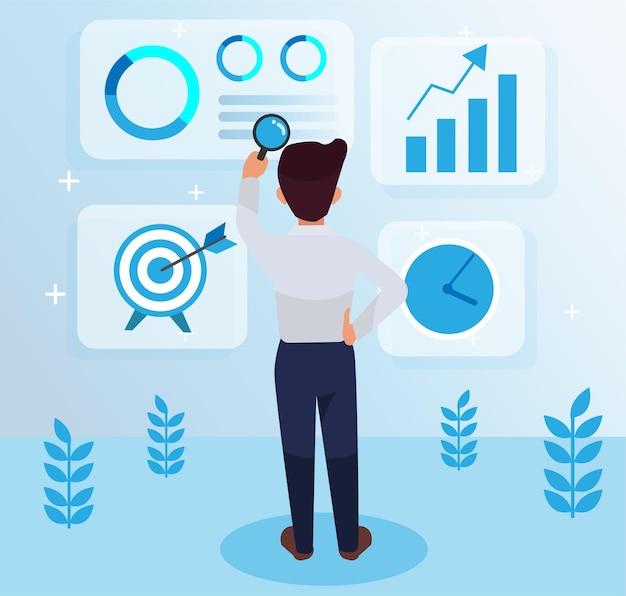 Empleado serio y trabajador de pie en el medio, mirando hacia atrás, sosteniendo una ilustración de lupa, estrategia de marketing con gráficos y símbolos. liderazgo