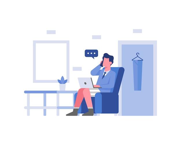 Un empleado está trabajando en casa en concepto de ilustración de pantalones cortos