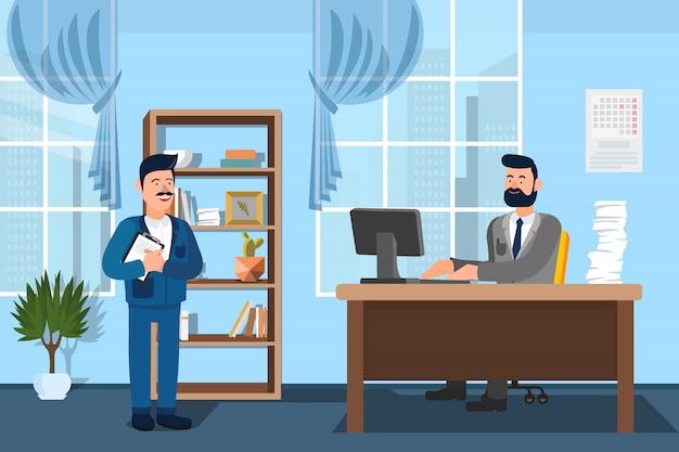 Empleador de comunicación y nuevo empleado. .