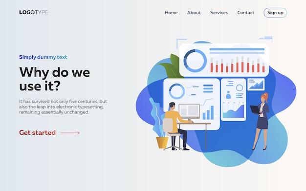 Empleadores analizando la página de inicio de infografías