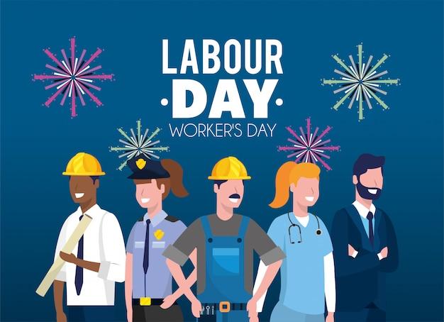 Empleadores profesionales para la celebración del día laboral.