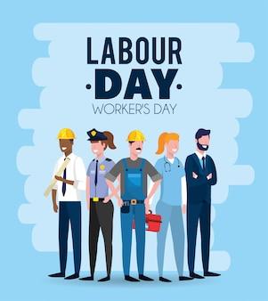Empleadores profesionales para celebrar la jornada laboral.