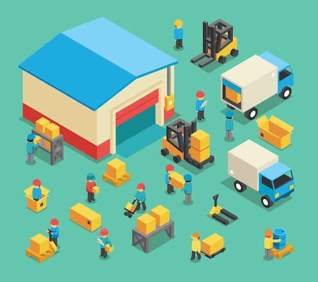 Empleados de almacenamiento y carga en movimiento isométrico. almacenamiento en almacén, logística de transporte, industria y equipo de almacén. ilustración de vector de empleados de almacenamiento y almacenamiento