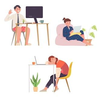 Empleados y autónomos aburridos trabajando desde casa