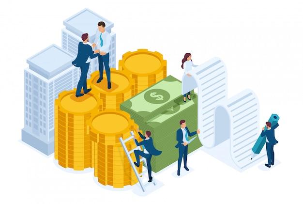 Los empleados del banco isométrico elaboran un préstamo hipotecario, empresarios.