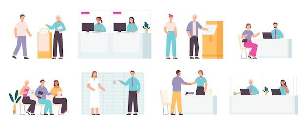 Empleados y clientes bancarios. gerentes de oficinas financieras, servicio de consultoría y recepción, mostrador para ventana de cliente y cajero, conjunto de vectores. personas sentadas en cola con documentos.