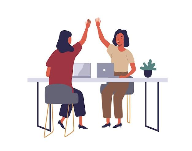 Empleados en coworking oficina abierta ilustración plana