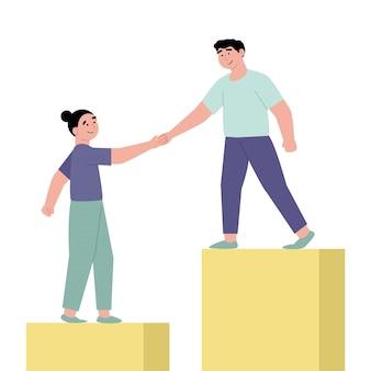 Empleados dando manos y ayudando a colegas a subir escaleras
