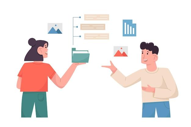 Los empleados discuten para el informe de datos comerciales