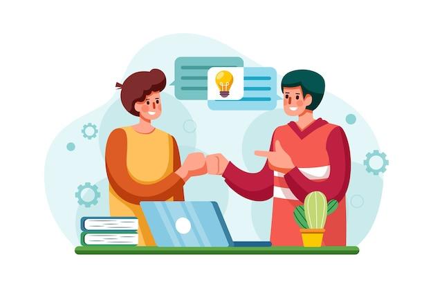 Empleados de la empresa que comparten pensamientos e ideas