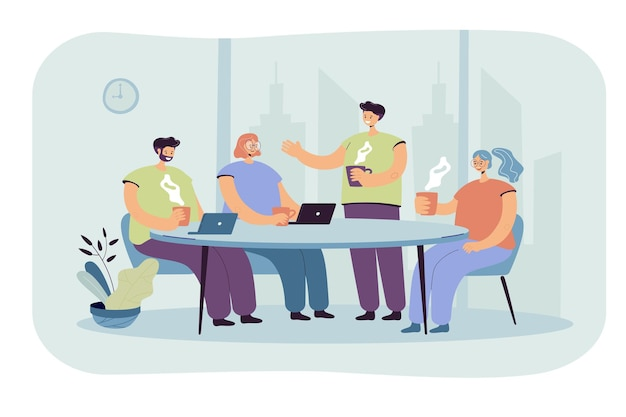 Los empleados intercambian ideas durante la pausa para el café. ilustración de dibujos animados