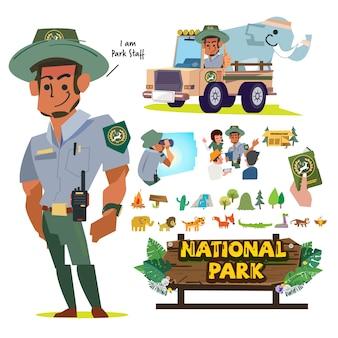 Empleados o personal del servicio nacional de parques, conjunto de caracteres de oficial forestal.