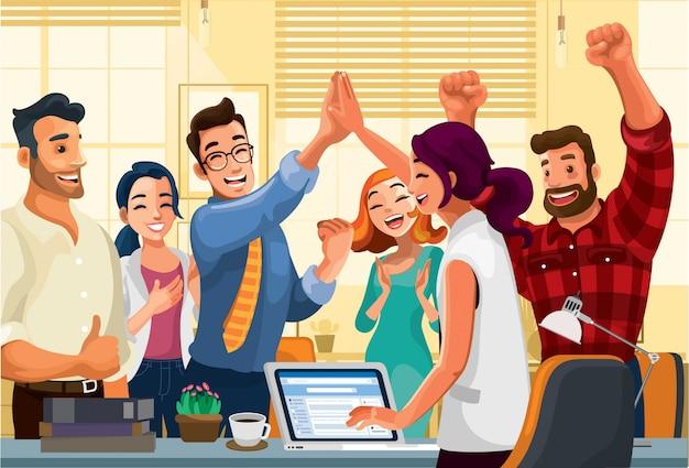 Empleados de oficina celebrando el éxito