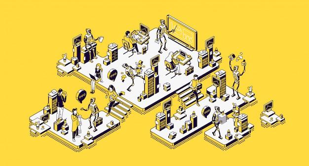 Empleados de oficina humanos y robots, empleados robóticos