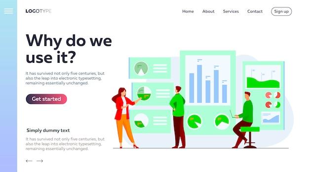 Empleados de oficina que analizan e investigan la plantilla de página de destino de datos comerciales