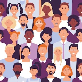 Empleados de oficina, retrato del equipo de trabajadores y colegas de pie juntos ilustración vectorial sin fisuras