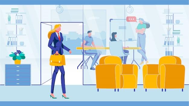 Empleados de oficina reunión de trabajo en equipo o conferencia.