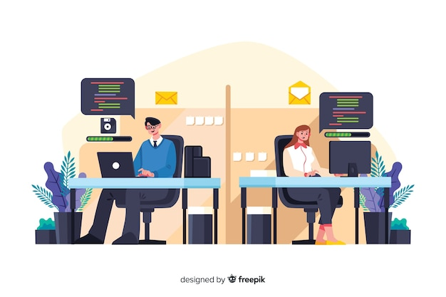 Empleados de oficina sentados juntos en escritorios