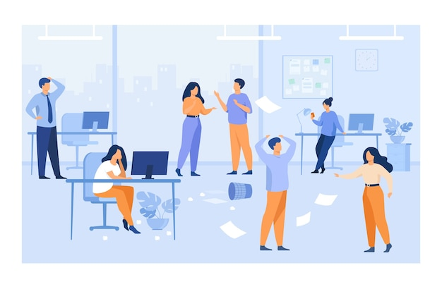 Empleados perezosos que hacen lío y caos en los lugares de trabajo en la oficina. gerentes desorganizados charlando, usando computadoras en el escritorio entre papeles voladores. para el trabajo caótico, el concepto de problema de trabajo en equipo