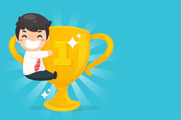 Los empleados que están contentos con la victoria y la recompensa del éxito por ser un empleado sobresaliente.