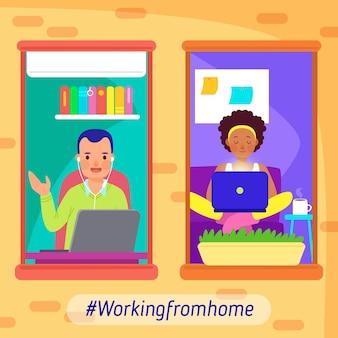 Empleados que trabajan desde casa