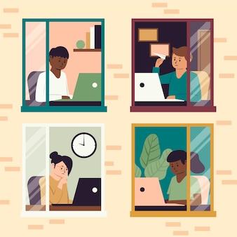 Empleados que trabajan desde el diseño del hogar