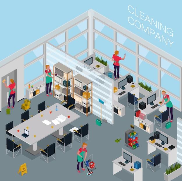 Empleados del servicio de limpieza con equipos profesionales durante el trabajo en oficina isométrica