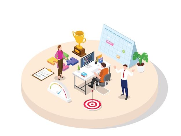 Los empleados trabajan con un enfoque profesional en la alta motivación del objetivo y agregan conocimiento, la experiencia de habilidad obtendrá la promoción del desarrollo profesional con isometría isométrica en 3d estilo de dibujos animados plana.