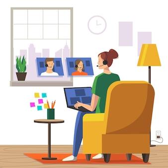 Empleados trabajando desde casa concepto