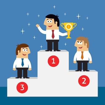 Empleados de la vida de negocios en el podio de ganadores.