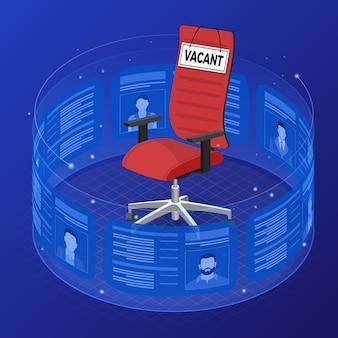 Empleo de agencia de trabajo isométrico, recursos humanos, curriculum vitae y concepto de contratación. reanudar a los solicitantes de vacantes en una pantalla transparente flexible. silla de oficina con letrero vacante.
