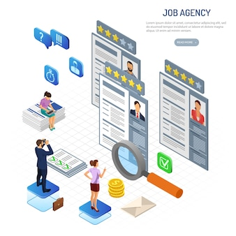 Empleo isométrico en línea, contratación, verificar currículum y concepto de contratación. recursos humanos de la agencia de empleo de internet. personas con binoculares, lupa y currículum. isometrico