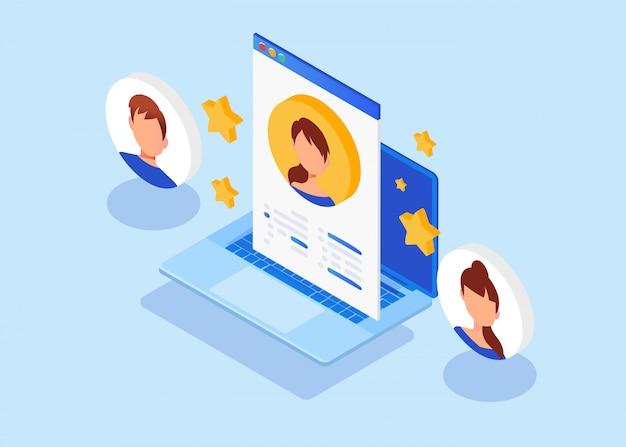 Empleo isométrico, reclutamiento, entrevista de trabajo para página web, banner.