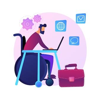 Empleo de personas con discapacidad. entrevista de trabajo con persona discapacitada en silla de ruedas. recursos humanos, vacante, carrera. oportunidades iguales.