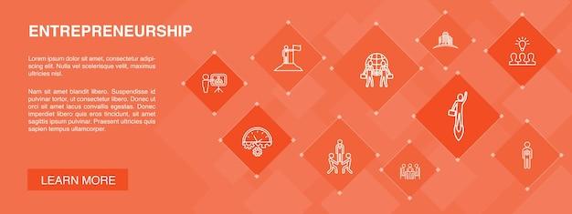 Emprendimiento, bandera, 10, iconos, concept., inversor, asociación, liderazgo, equipo, construcción, simple, iconos