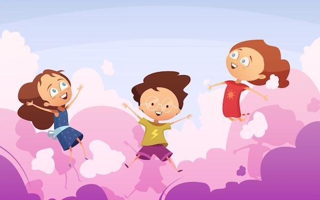 Empresa activa de niños preescolares juguetones saltando contra el cielo.