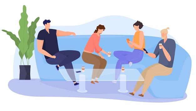 La empresa va al café en el sofá, se divierte, se sienta en las redes sociales. los amigos pasan tiempo juntos. ilustración colorida en estilo de dibujos animados plana.