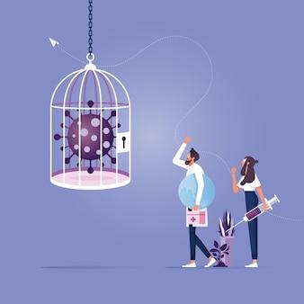 Empresa comercial encierra coronavirus en jaula con covid-19