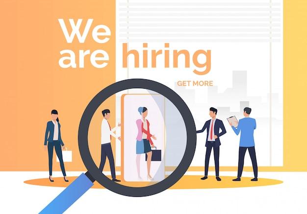 Empresa contratando candidatos de trabajo.