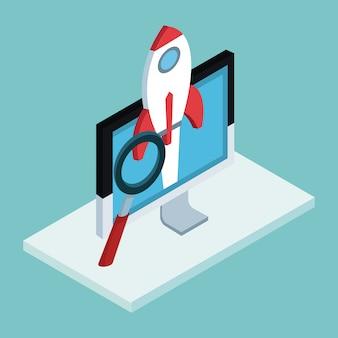Empresa de inicio en línea desde la computadora