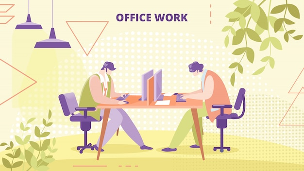 Empresa empleados oficina trabajo plano vector banner