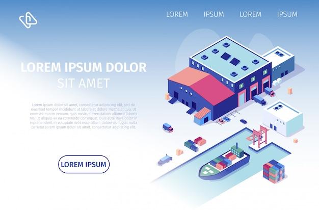 Empresa de envío internacional vector sitio web