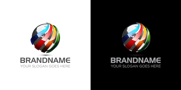 Empresa global de plantilla de logotipo de esfera colorida