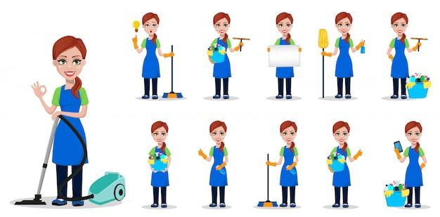 Empresa de limpieza de personal en uniforme, conjunto.