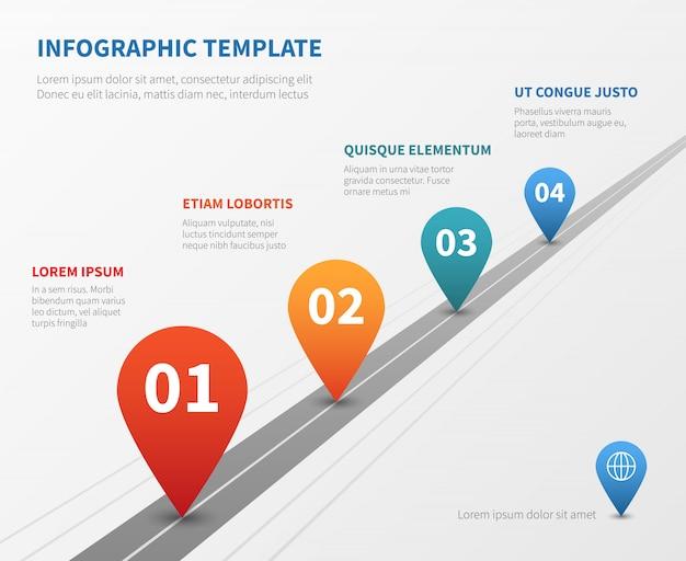 Empresa línea de tiempo vector infografía. camino de hito con punteros.